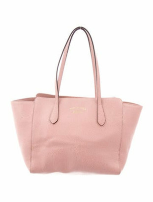 Gucci Small Swing Leather Tote Pink
