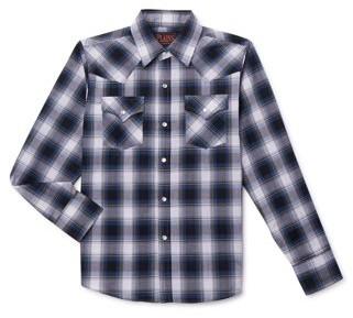 Plains Western Wear Plains Boys Long Sleeve Basic Snap Western Plaid Button-Down Shirt, Sizes 4-16