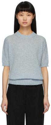 Prada Blue Wool Shetland Short Sleeve Sweater