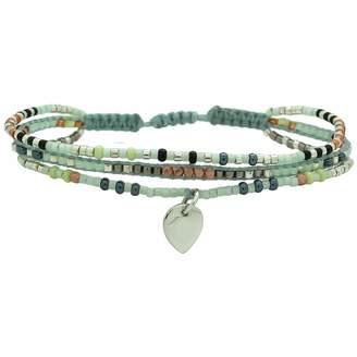 LeJu London Neutral Trio Bracelet With A Silver Pendant
