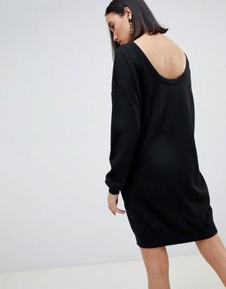 Asos Design DESIGN jumper dress with scoop back in eco yarn-Black