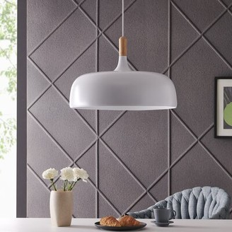 Hessle 1 - Light Single Dome Pendant with Wood Accents Wrought Studio Finish: White