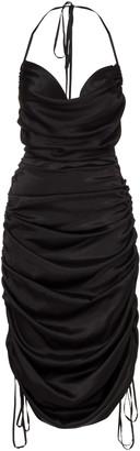 Dodo Bar Or Merlyn Draped Silk Midi Halter Dress