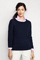 Classic Women's Tall Lofty Cable Crewneck Sweater-Antique Garnet Plaid