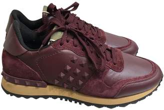 Valentino Rockrunner Burgundy Leather Trainers
