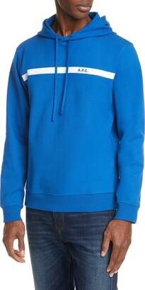 A.P.C. Logo Stripe Hooded Sweatshirt