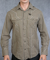 Rebel Spirit Tan Stripe 'Rebel' Eagle Embroidery Button-Up - Men's Regular