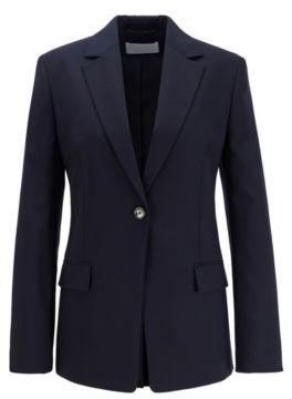 HUGO BOSS Slim Fit Jacket In Traceable Stretch Virgin Wool - Light Blue
