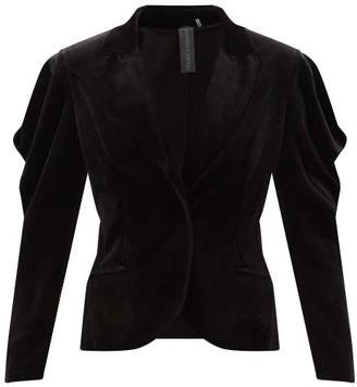 Norma Kamali Wing Cotton-blend Velvet Jacket - Black