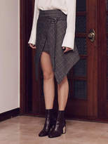 Wardrobe Unbalance Check Wrap Skirt_brown