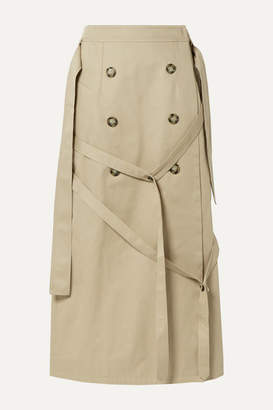 Rokh Button-embellished Cotton-gabardine Wrap Skirt - Beige