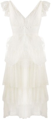 Marchesa sleeveless ruffle dress