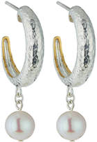 Gurhan Spell Small Tapered Hoops w/ Freshwater Pearl Drops