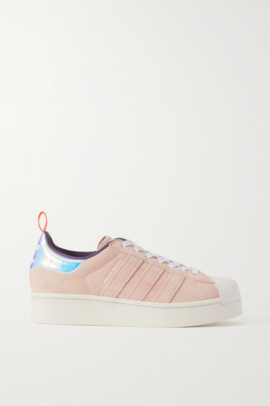 adidas + Girls Are Awesome Superstar Metallic-trimmed Suede Sneakers - Blush