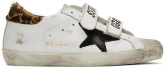Golden Goose White Leopard Pony Old School Sneakers