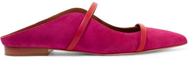 Malone Souliers by Roy Luwolt - Maureen Leather-trimmed Suede Point-toe Flats - Fuchsia