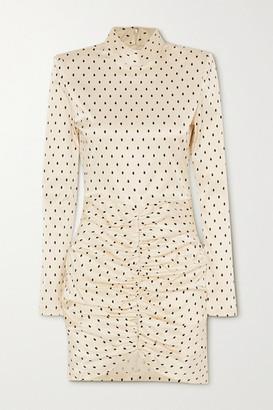 Rotate by Birger Christensen Minna Ruched Polka-dot Satin Mini Dress - Off-white