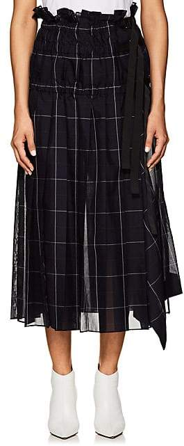 Sacai Women's Checked Pleated Organza Midi-Skirt - Navy