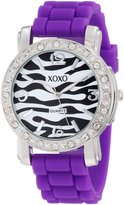 XOXO Women's XO8060 Rhinestones Accent Purple Silicone Strap Watch