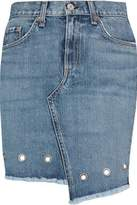 Rag & Bone Asymmetric Eyelet-Embellished Denim Mini Skirt