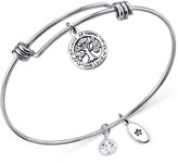 Unwritten Family Tree Charm and Crystal (8mm) Bangle Bracelet in Stainless Steel