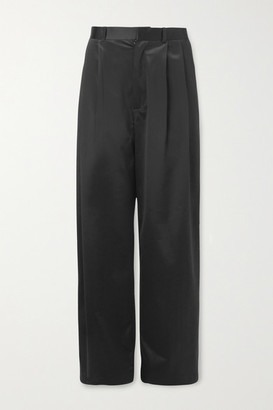 Dodo Bar Or Coco Pleated Satin Wide-leg Pants - Black