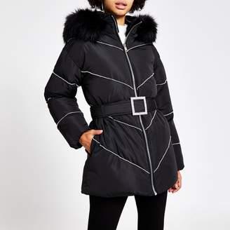 River Island Womens Black diamante belted puffer coat