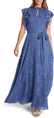 Tahari Ruffle Neck Floral Jacquard Gown