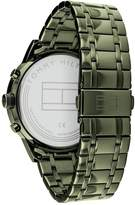 Tommy Hilfiger Tommy Hilfiger Kyle Black Sunray Chronograph Dial Green IP Stainless Steel Bracelet Mens Watch