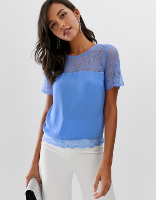 Lipsy lace top in cornflower blue