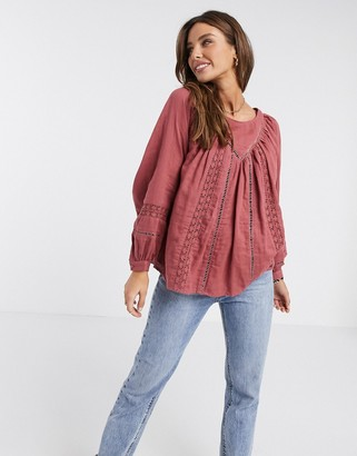 Asos DESIGN long sleeve smock top with lace insert in Red-No Color