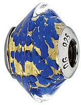Murano Prerogatives Sterling Gold and Blue Italian Glass Bead