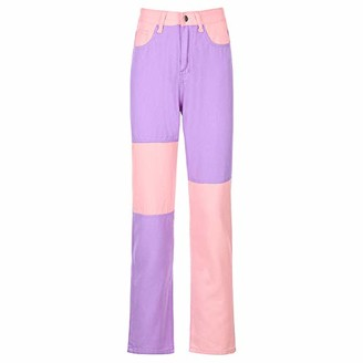 Bao Women's Wide Leg High Waisted Heart Print Jeans Y2k Pockets Straight Flare dye Denim Pants Loose Streetwear Jeans Patchwork Pants