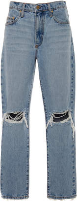 Nobody Denim Frankie Distressed High-Rise Slim-Leg Jeans Size: 24