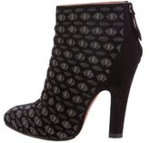 Alaia Laser Cut Suede Ankle Boots