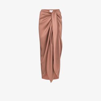 BONDI BORN Draped Tie-Front Midi Skirt
