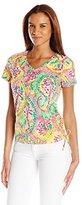 Caribbean Joe Women's Multi Color Printed Short-Sleeve V-Neck Ruched T-Shirt