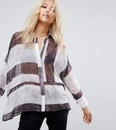 Religion Relaxed Shirt In Sheer Linear Print