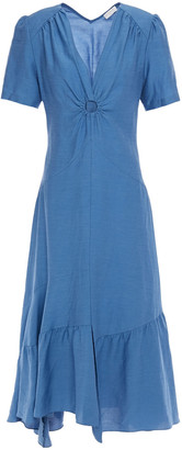 Sandro Tamara Asymmetric Cutout Ring-embellished Twill Midi Dress
