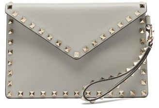 Valentino Rockstud Leather Wristlet Pouch - Grey