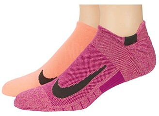 Nike Multiplier Running No Show Socks 2-Pair Pack (Black/White) No Show Socks Shoes