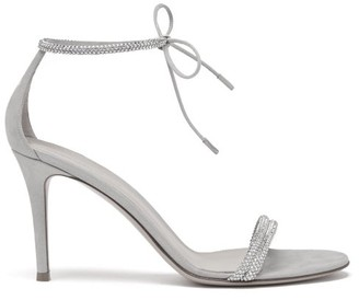 Gianvito Rossi Pascale 85 Crystal And Metallic-suede Sandals - Womens - Silver