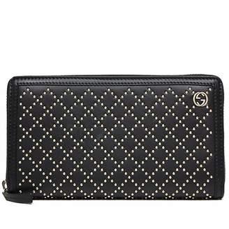 Gucci Diamante Zip Around Wallet Studded Leather Black