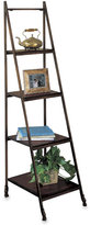 Metal and Wood Four-Tier Ladder Bookshelf