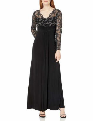 Marina Women's Long Jersey Gown with Scallop Lace Bodice