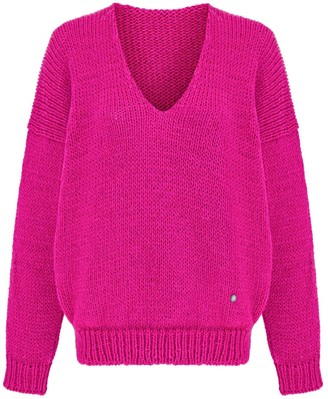 You By Tokarska Soft V-Neck Sweater Mia Fuchsia