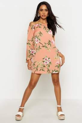 boohoo Off The Shoulder Frill Sleeve Swing Dress