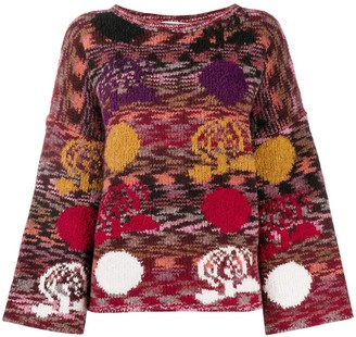 See by Chloe Flared Sleeve Floral Knitted Jumper