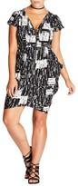 City Chic Plus Size Women's Geo Print Zip Front Tunic