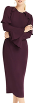 Oasis Fluted Sleeve Shift Dress, Berry